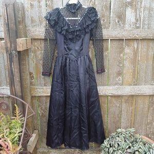 Vintage Black Gunne Sax Wedding Dress Goth Vamp 9